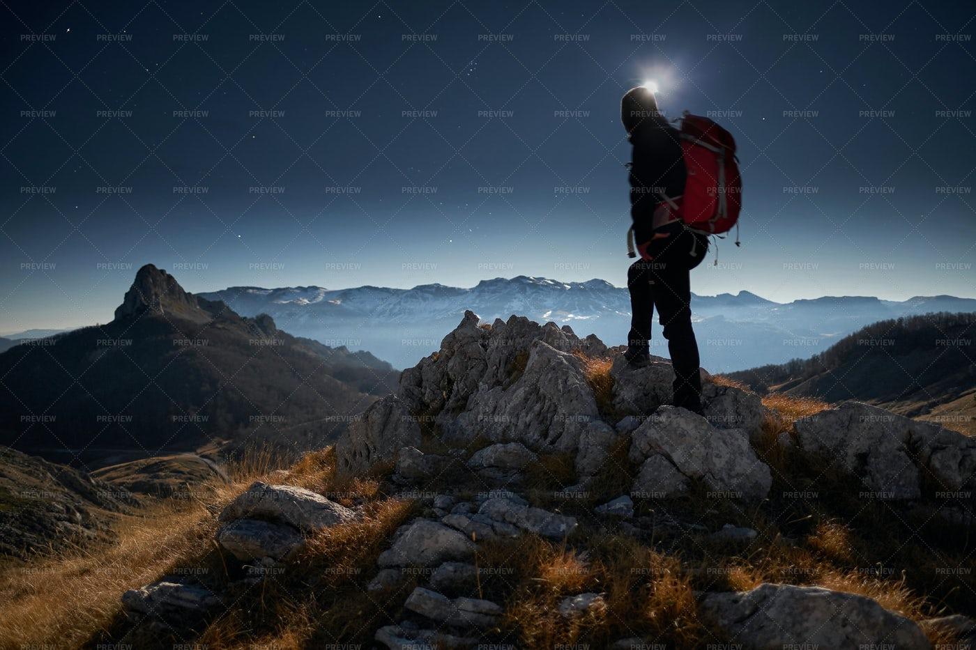 Hiker And Moonlight: Stock Photos