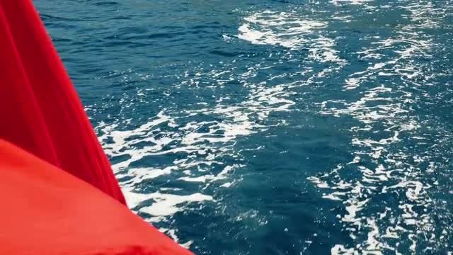 Boat's Wake On The Blue Ocean : Stock Video