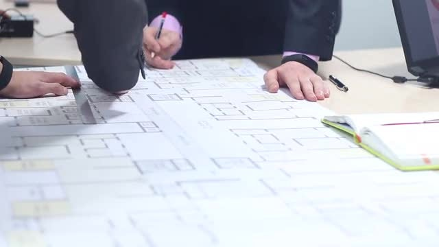 Architect Creating Building Plan : Stock Video