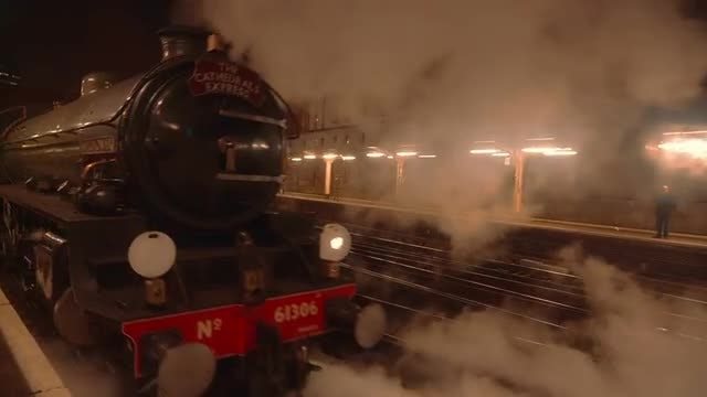 Steam Train Pulling Off At Night: Stock Video
