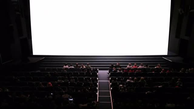 Theater Audience Watching White Screen: Stock Video