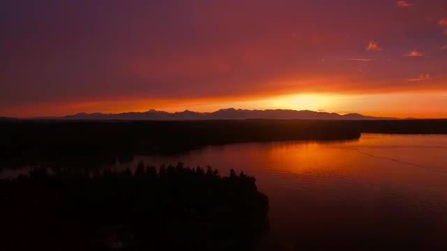 Aerial - Sunset Over Puget Sound: Stock Video