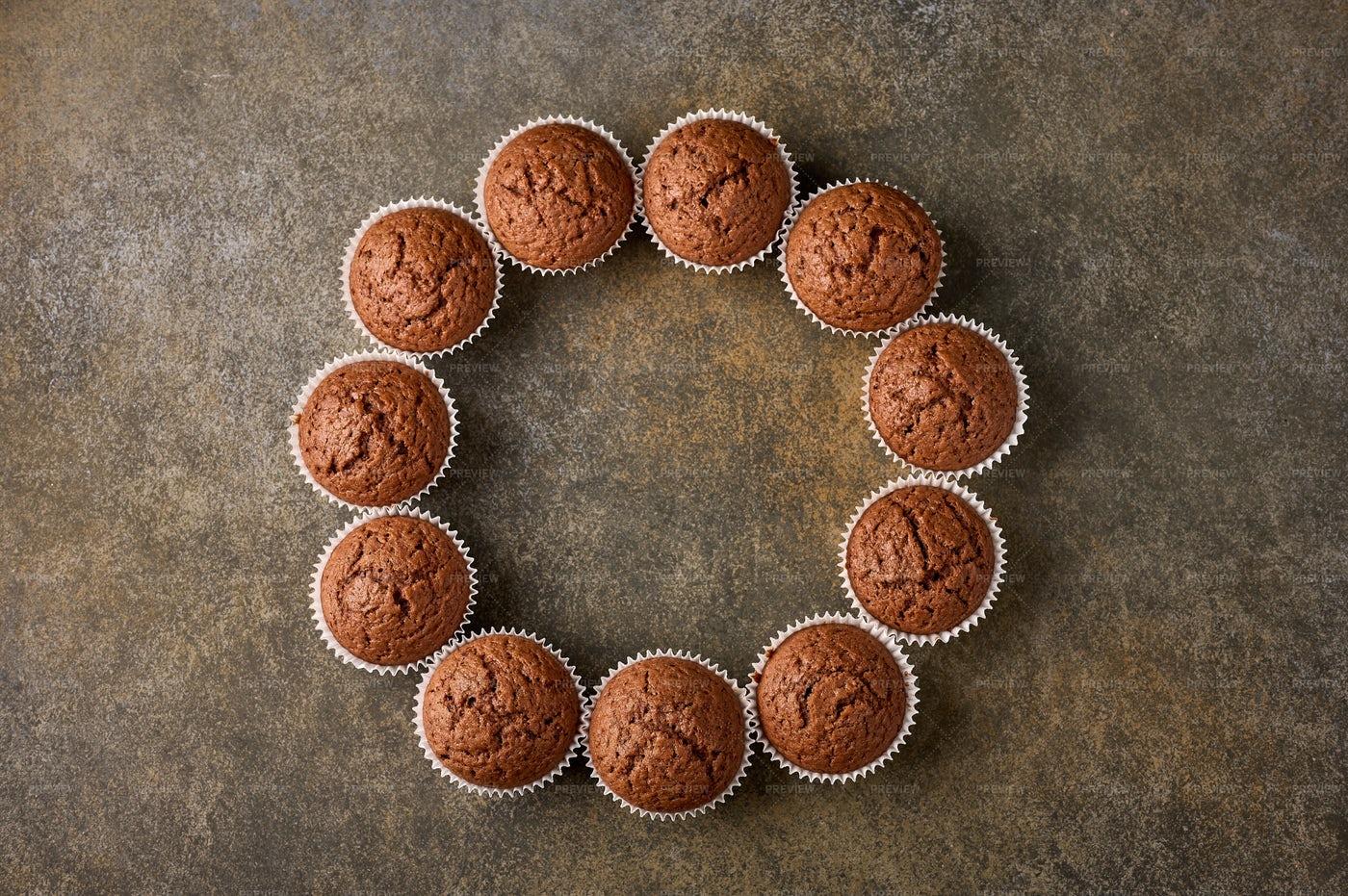 Chocolate Cupcakes In Circle: Stock Photos