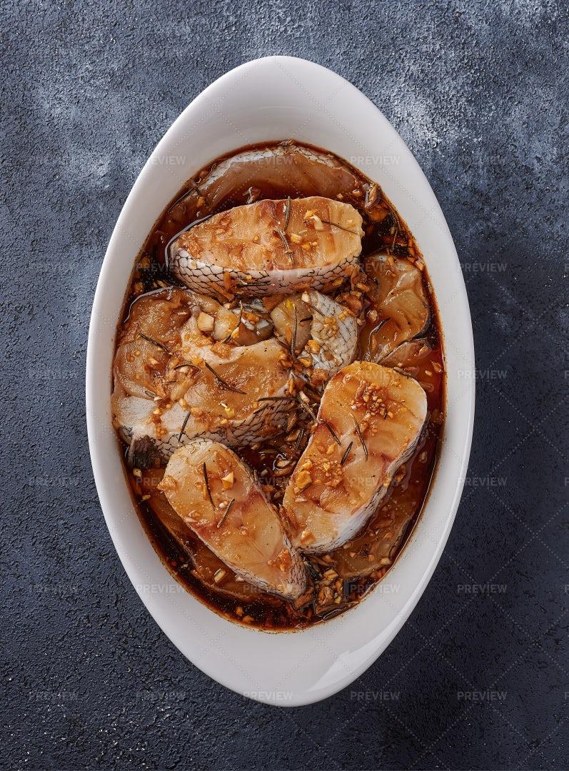 Baked Sea Fish In Marinade: Stock Photos