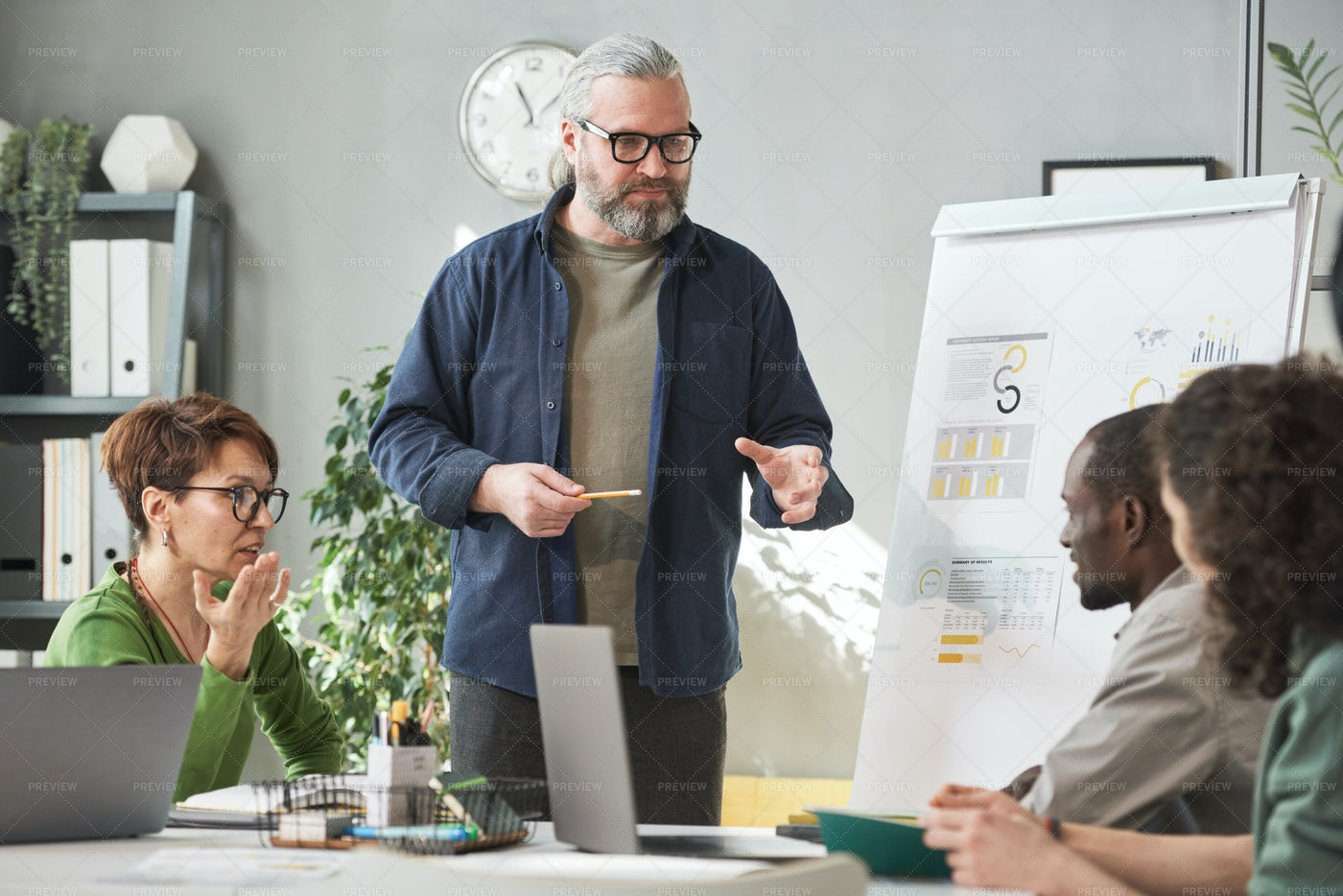 Man Presenting A Project: Stock Photos