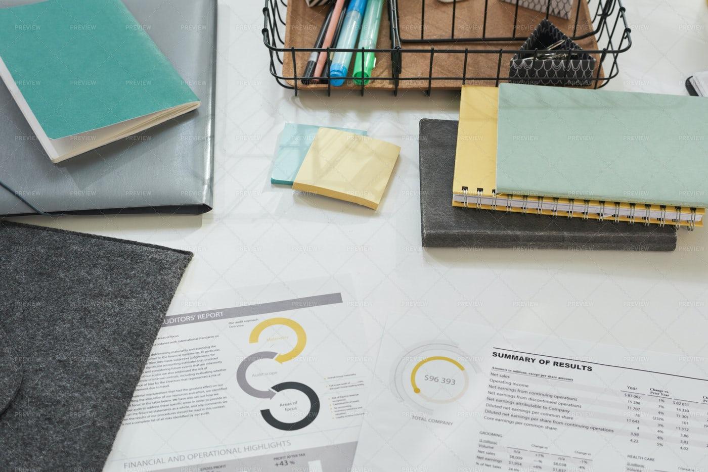 Documents On A Work Table: Stock Photos
