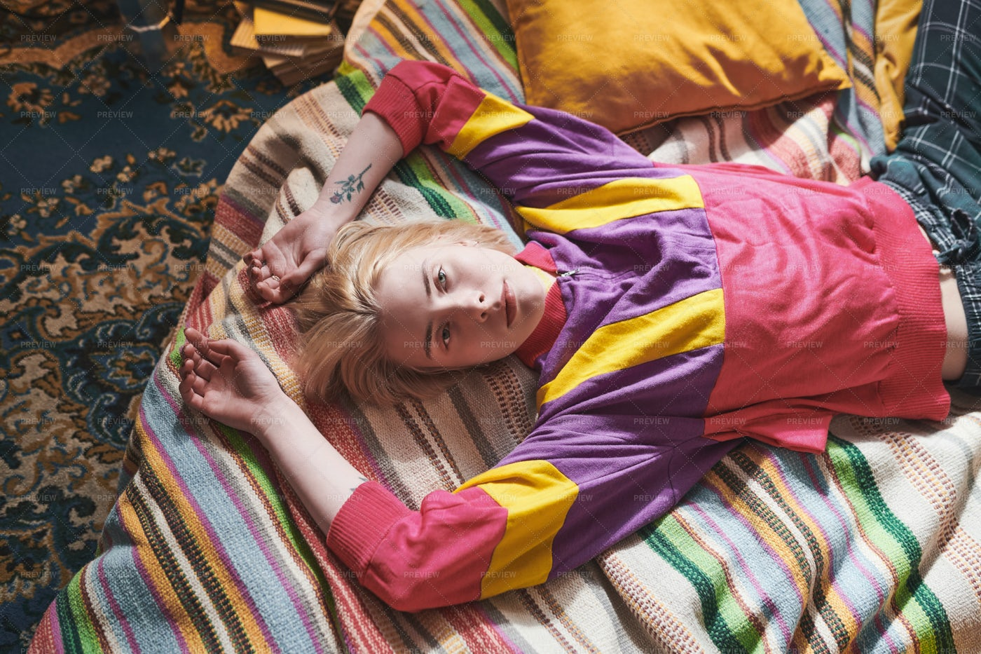 Girl Relaxing On The Bed: Stock Photos