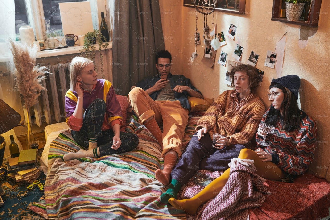 Friends Gathering Together At Home: Stock Photos