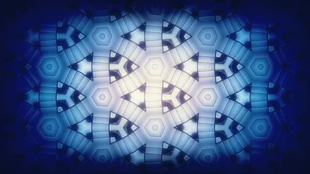 Blue-White Kaleidoscope Loop: Stock Motion Graphics
