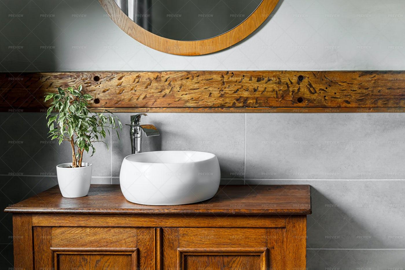 Rustic Bathroom Interior: Stock Photos