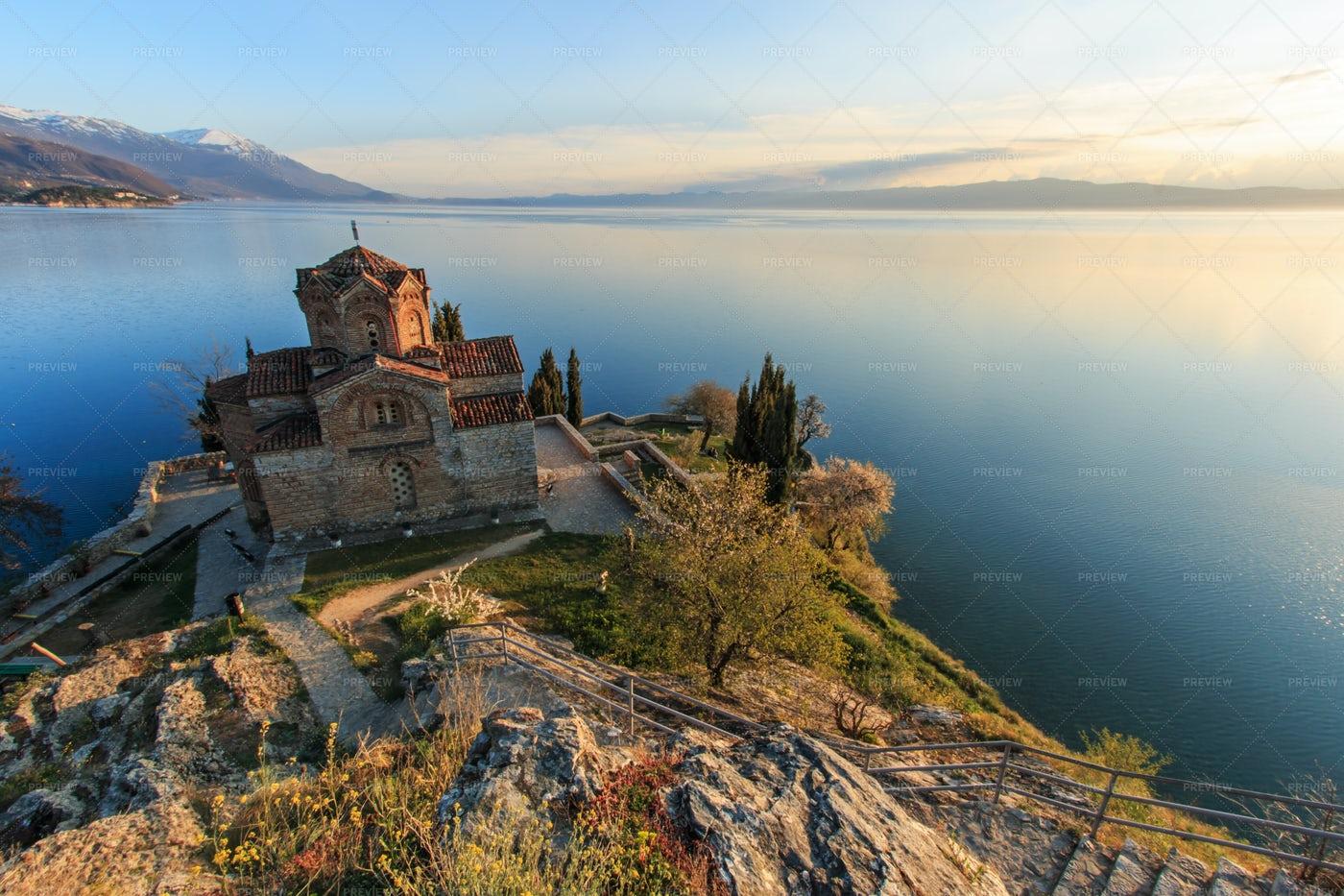 Lake Ohrid And Church: Stock Photos