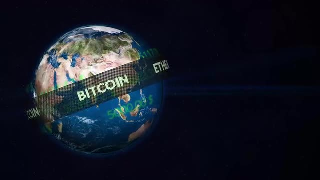 Cryptocurrency Ticker Tape Over Earth : Stock Motion Graphics