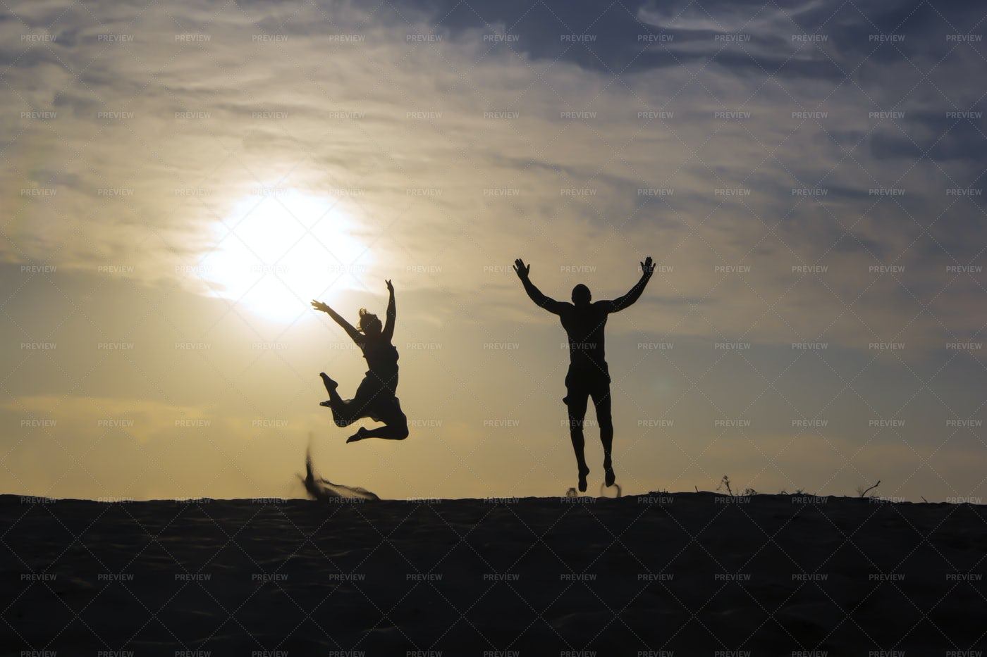 Silhouette Of Happy People: Stock Photos