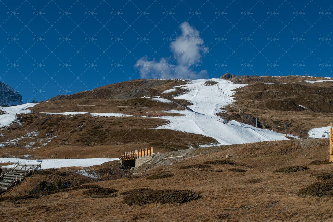 Ski Slope With Artificial Snow: Stock Photos