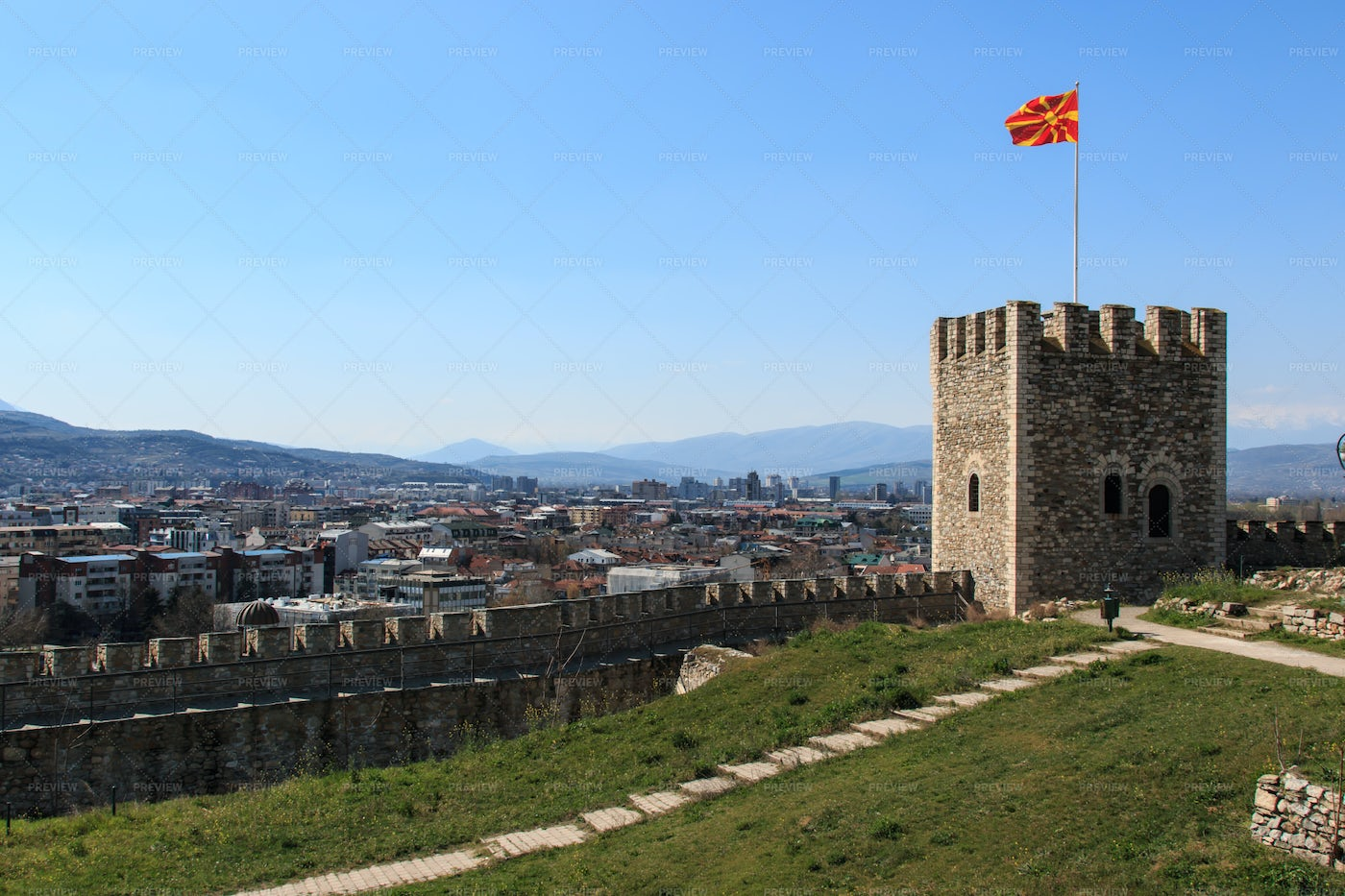 Skopje Fortress In North Macedonia: Stock Photos