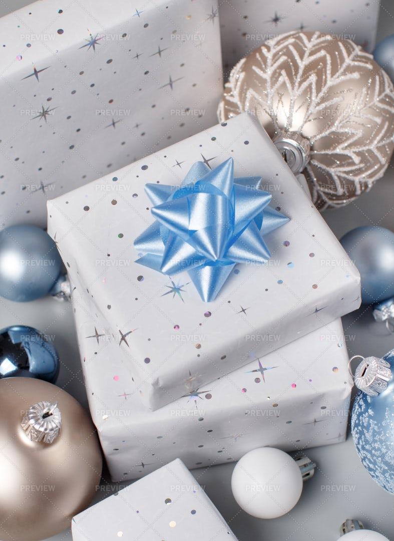 Grey Christmas Presents: Stock Photos
