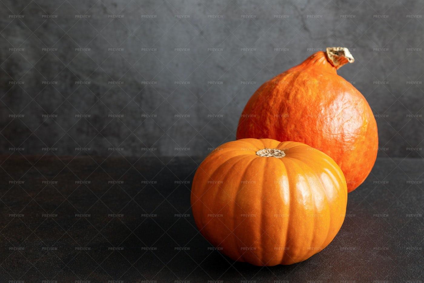 Two Ripe Orange Pumpkins: Stock Photos