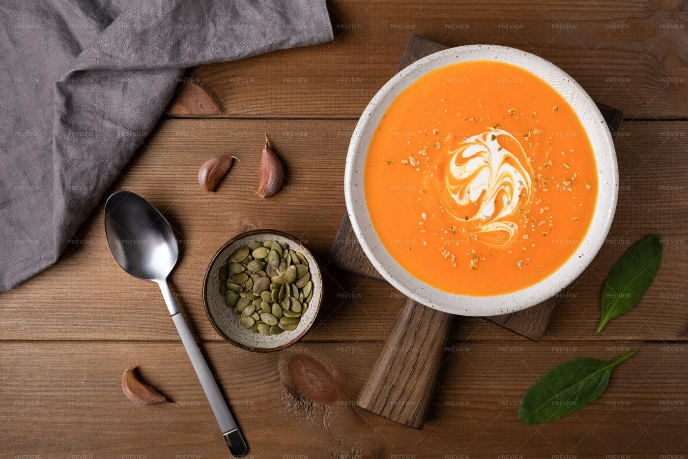 Pumpkin Soup With Cream: Stock Photos