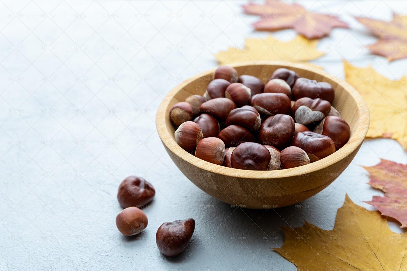 Hazelnuts And Chestnuts: Stock Photos