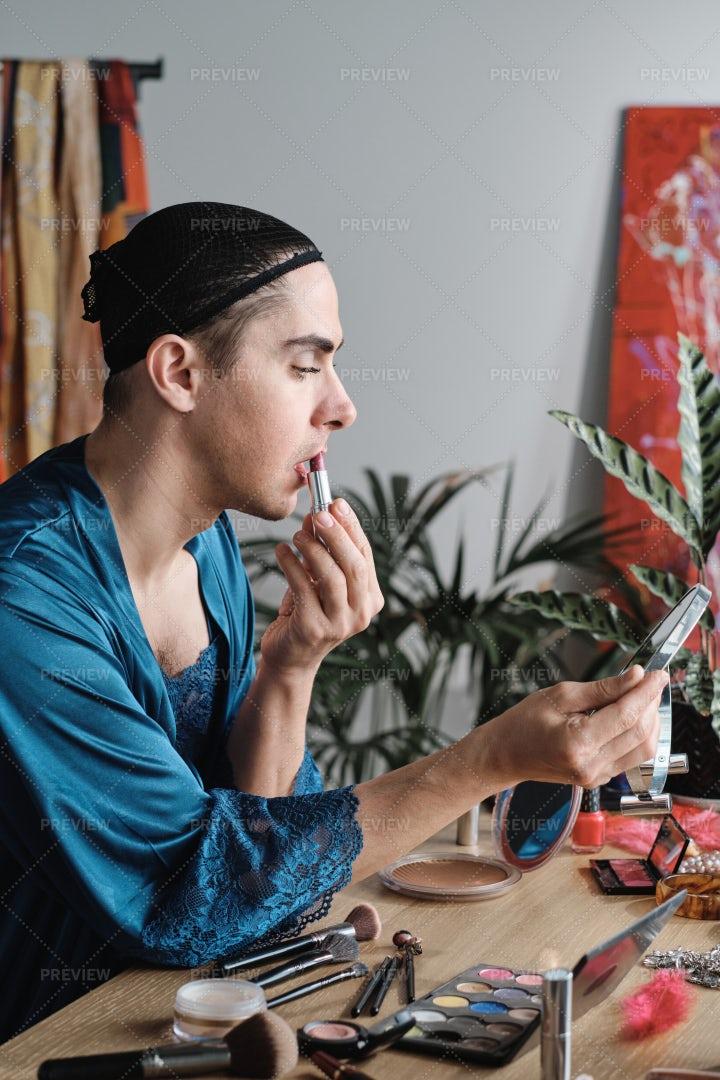 Man Wearing Makeup: Stock Photos