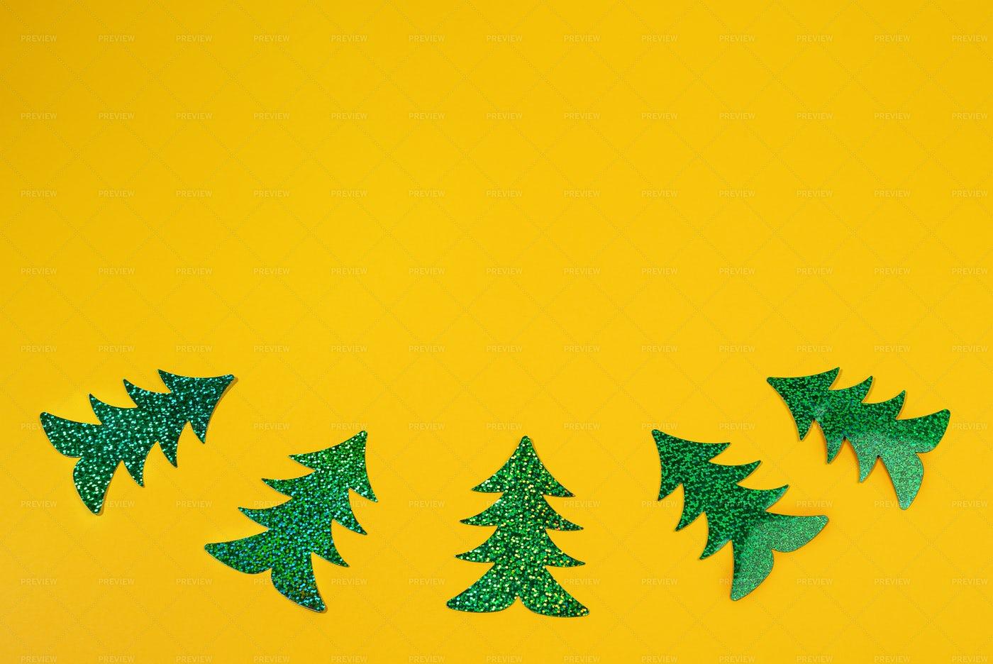 Xmas Trees In Yellow: Stock Photos