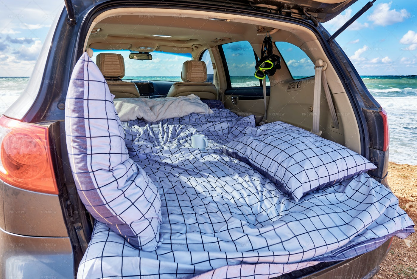 A Bed In Car Trunk: Stock Photos