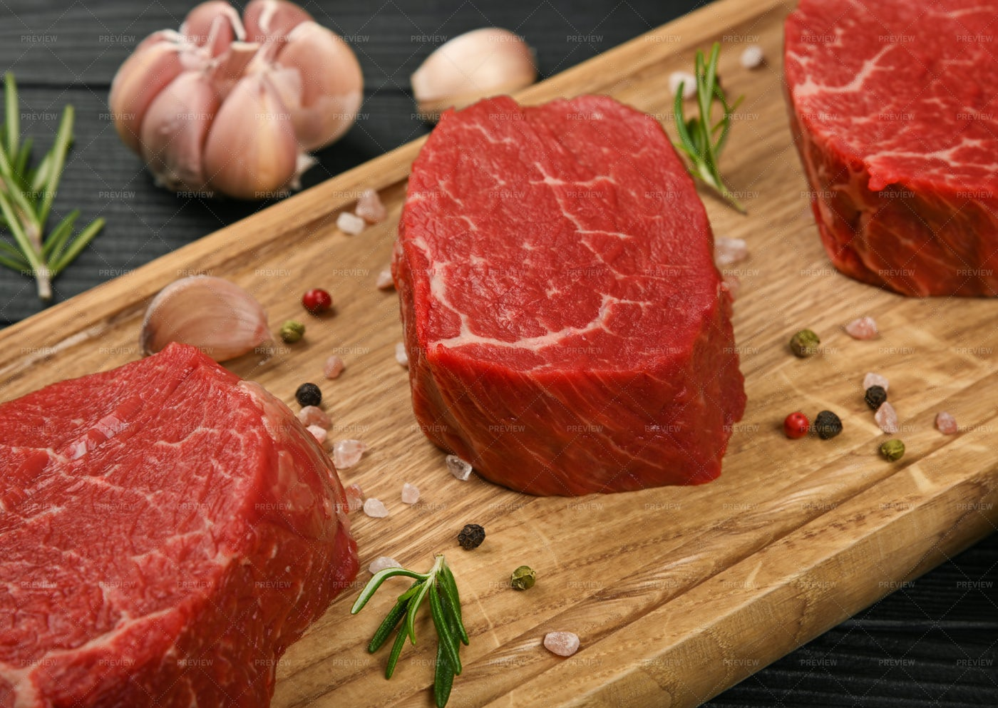 Raw Beef Tenderloin Steaks: Stock Photos