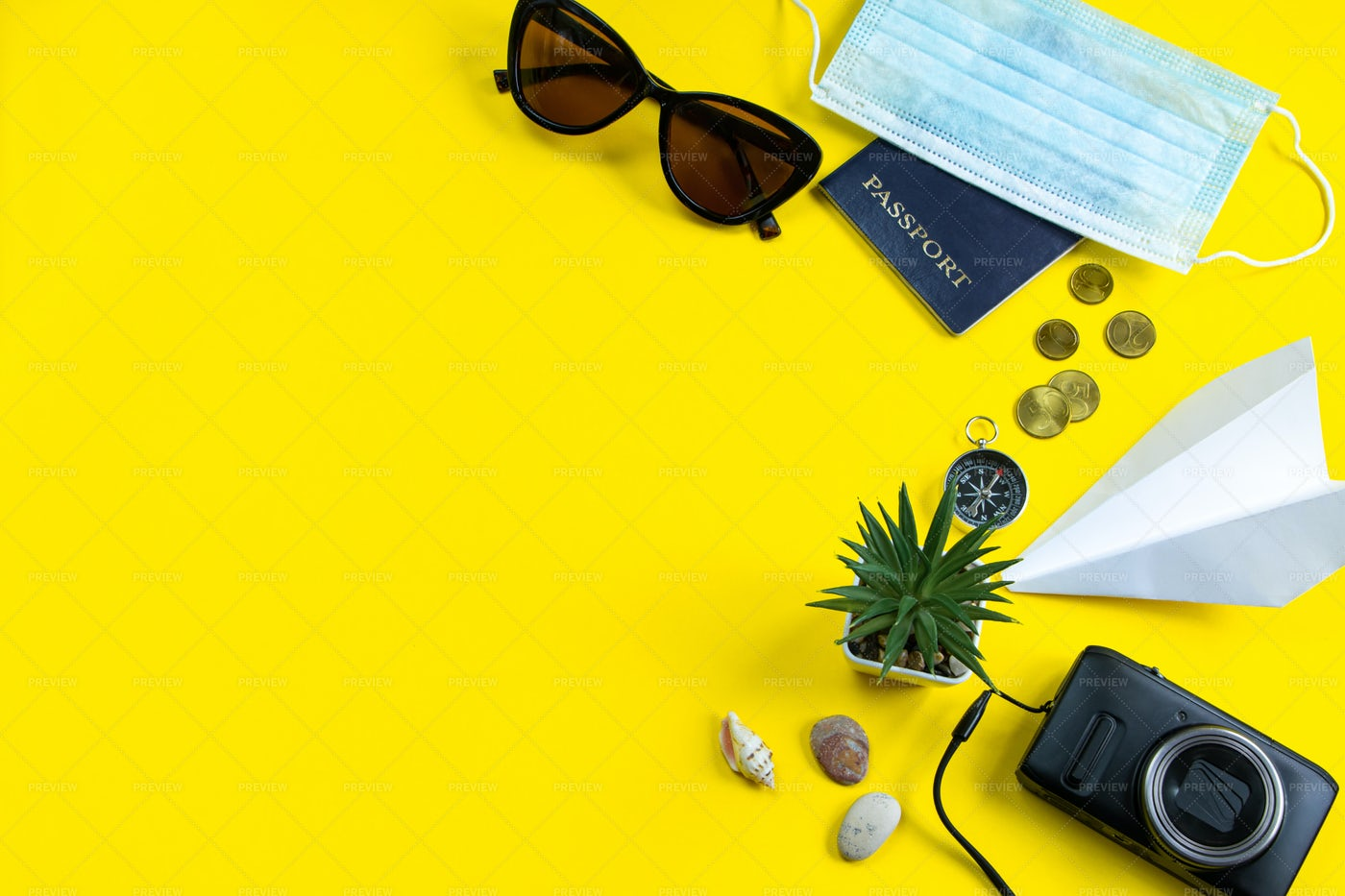 Travel Accessories On Yellow: Stock Photos