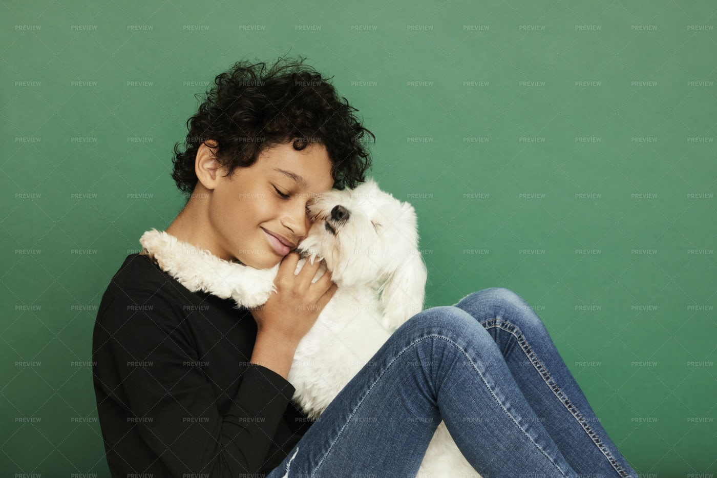 Boy Hugging His Dog: Stock Photos