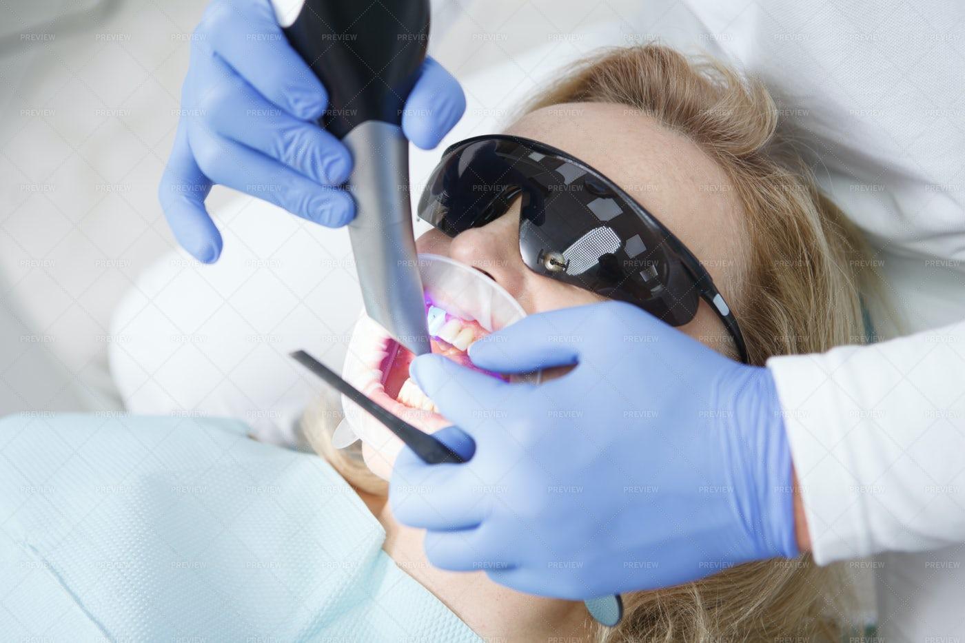 Woman Getting Dental Scanning: Stock Photos