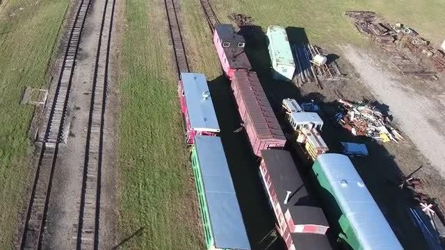 Trainyard Closeup Aerial: Stock Video