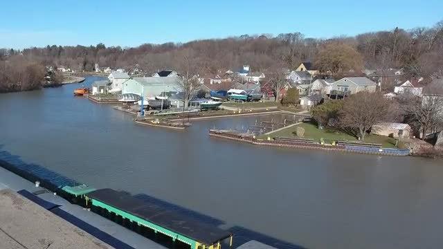 Aerial Shot Of Quiet Harbor : Stock Video