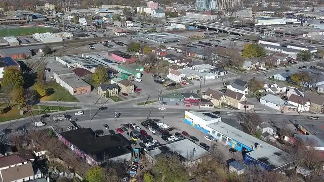 Aerial Shot Of Crowded Neighborhood : Stock Video