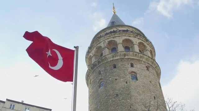Turkish Flag And Galata Tower: Stock Video