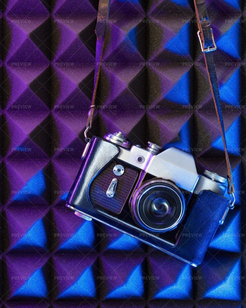 Film Camera In Neon Light: Stock Photos