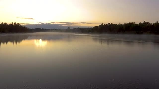 Steamy Lake At Sunset: Stock Video
