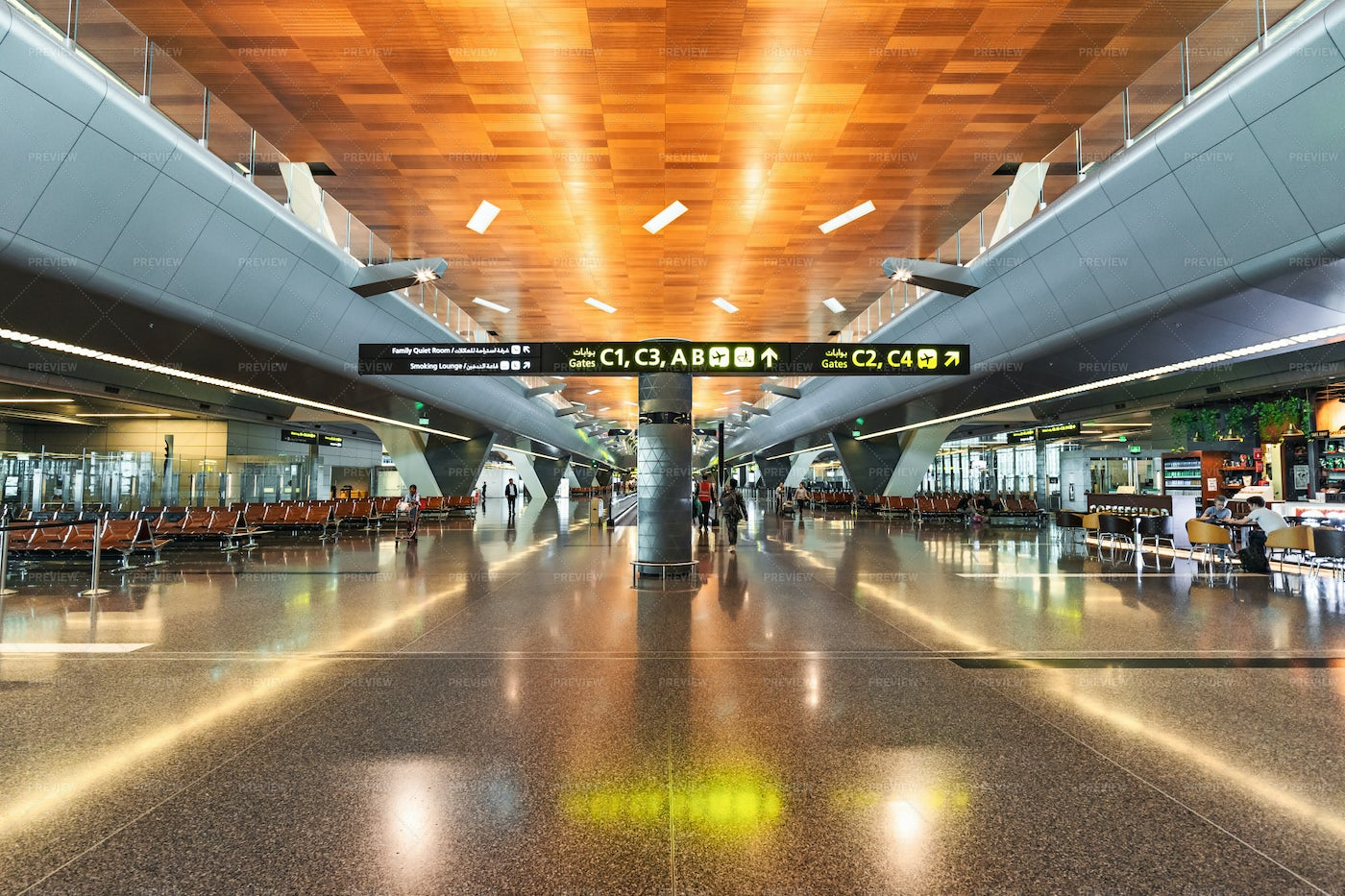 Indoors In Hamad Airport In Doha: Stock Photos