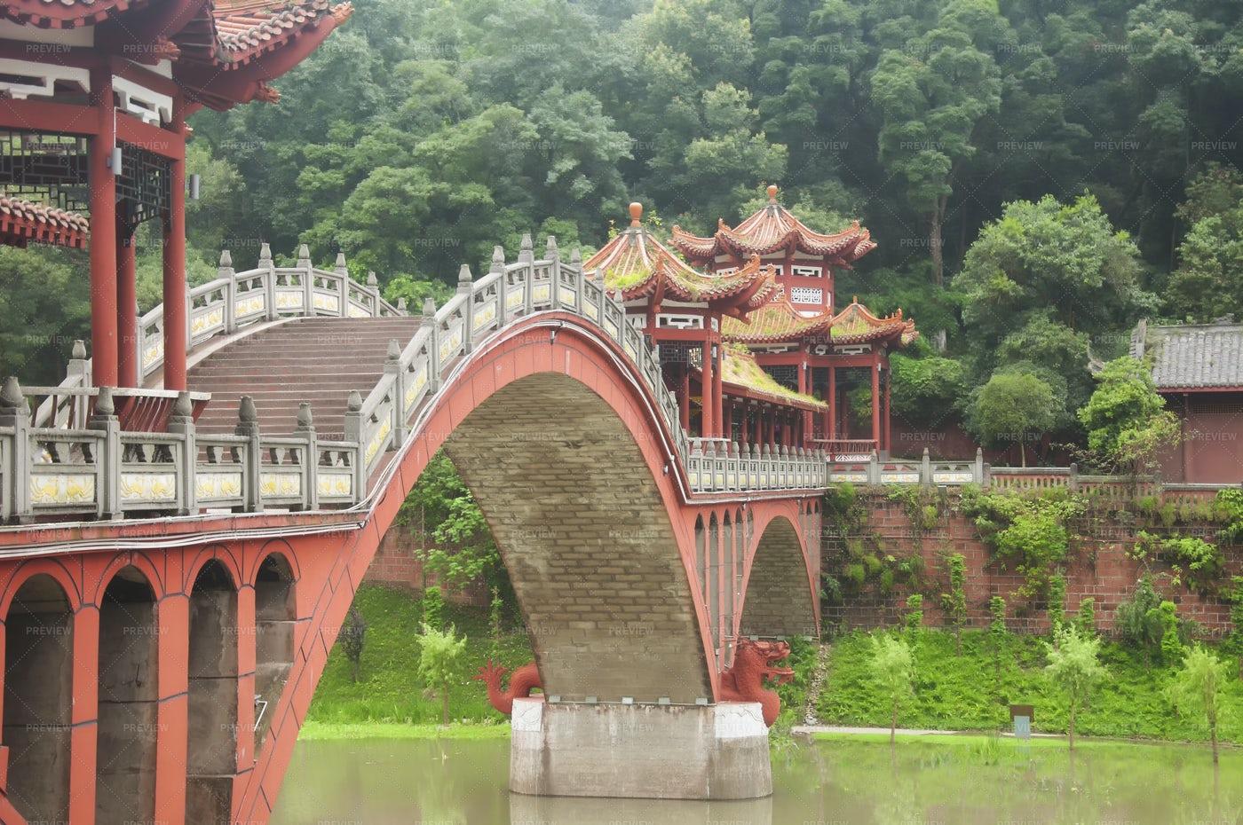 Haoshang Bridge Mahao River Leshan China: Stock Photos