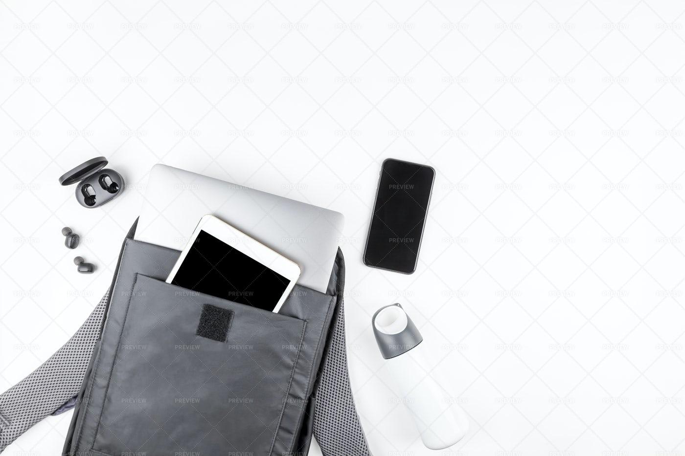 Modern Gadgets Flat Lay: Stock Photos