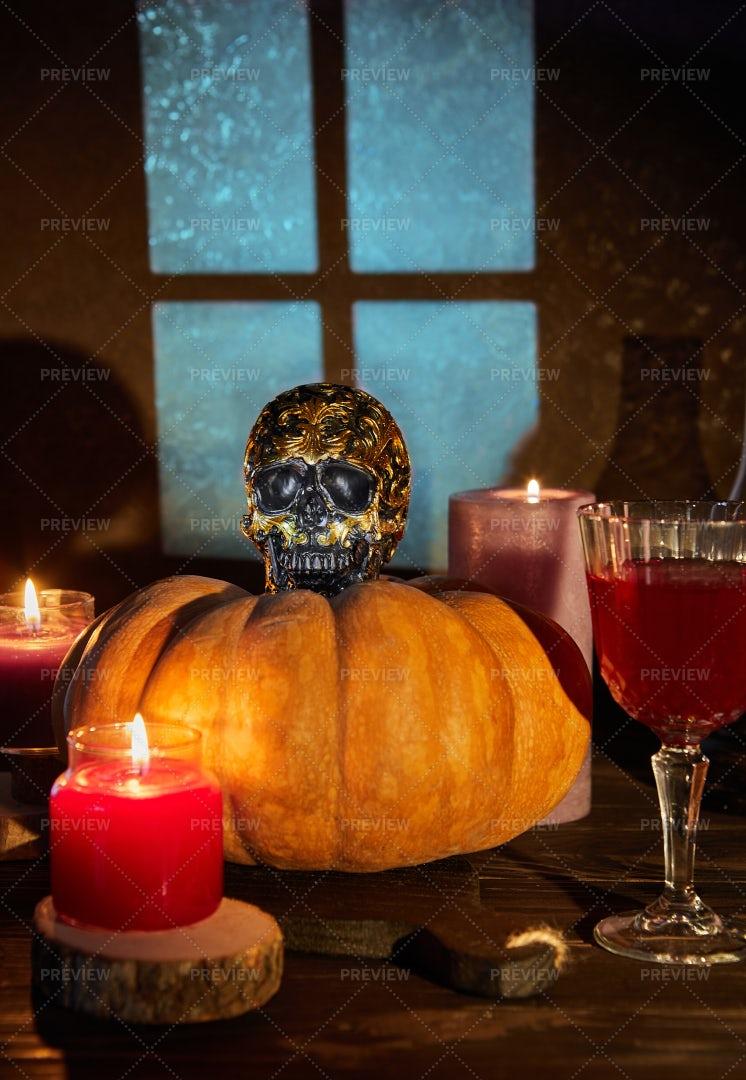 Halloween Skull With Pumpkin: Stock Photos