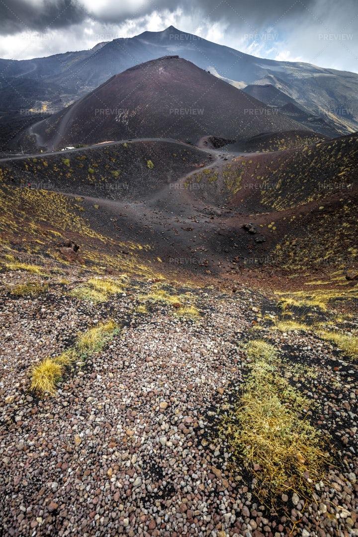 Route On Mount Etna Volcano: Stock Photos
