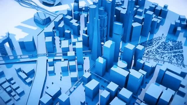 Blue City Buildings: Stock Motion Graphics