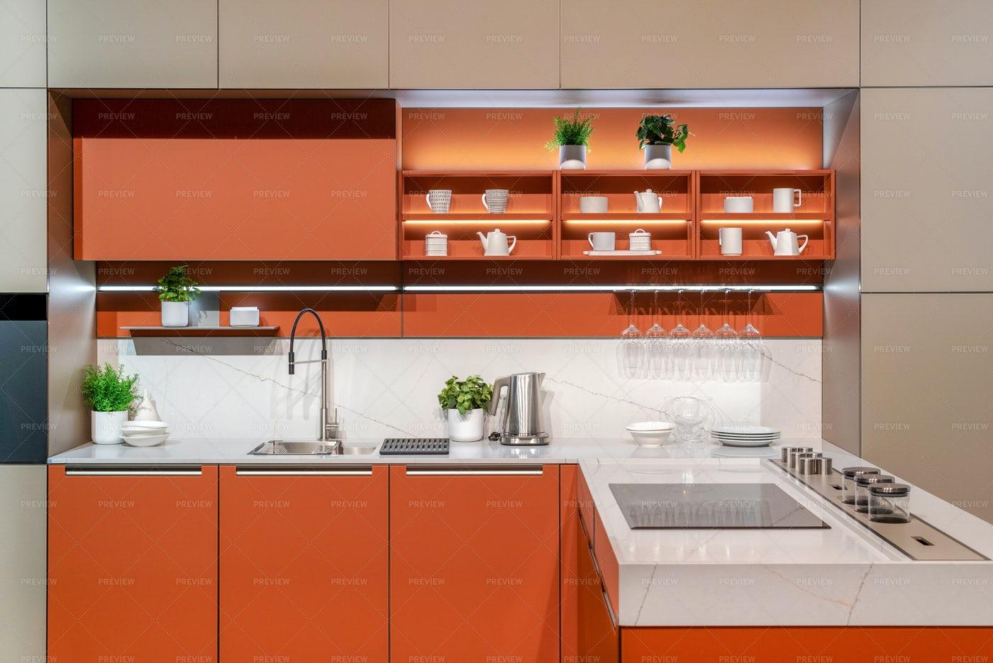 Interior Of Modern Orange Kitchen: Stock Photos