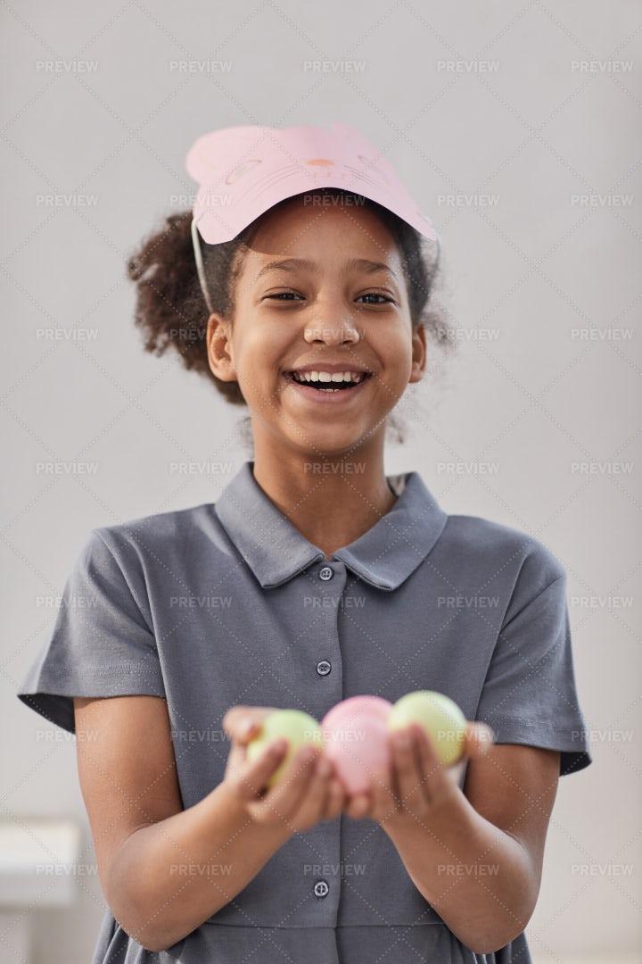 Playful  Girl On Easter: Stock Photos