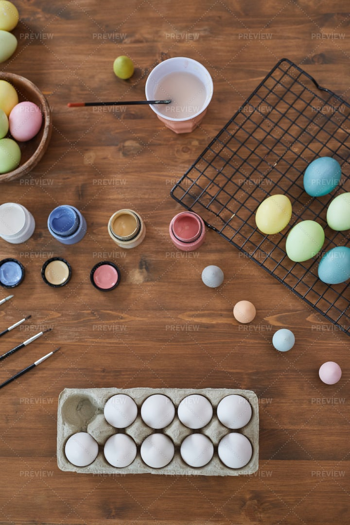 Pastel Colored Easter Eggs: Stock Photos