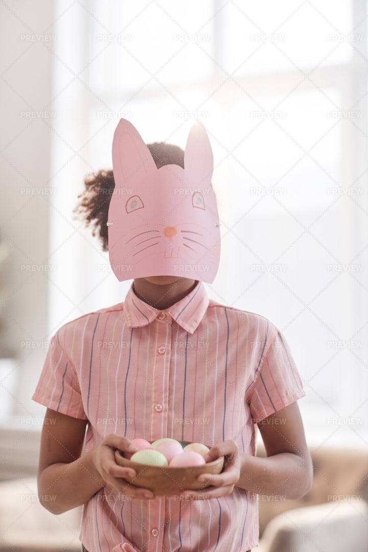 Girl With Bunny Mask On Easter: Stock Photos