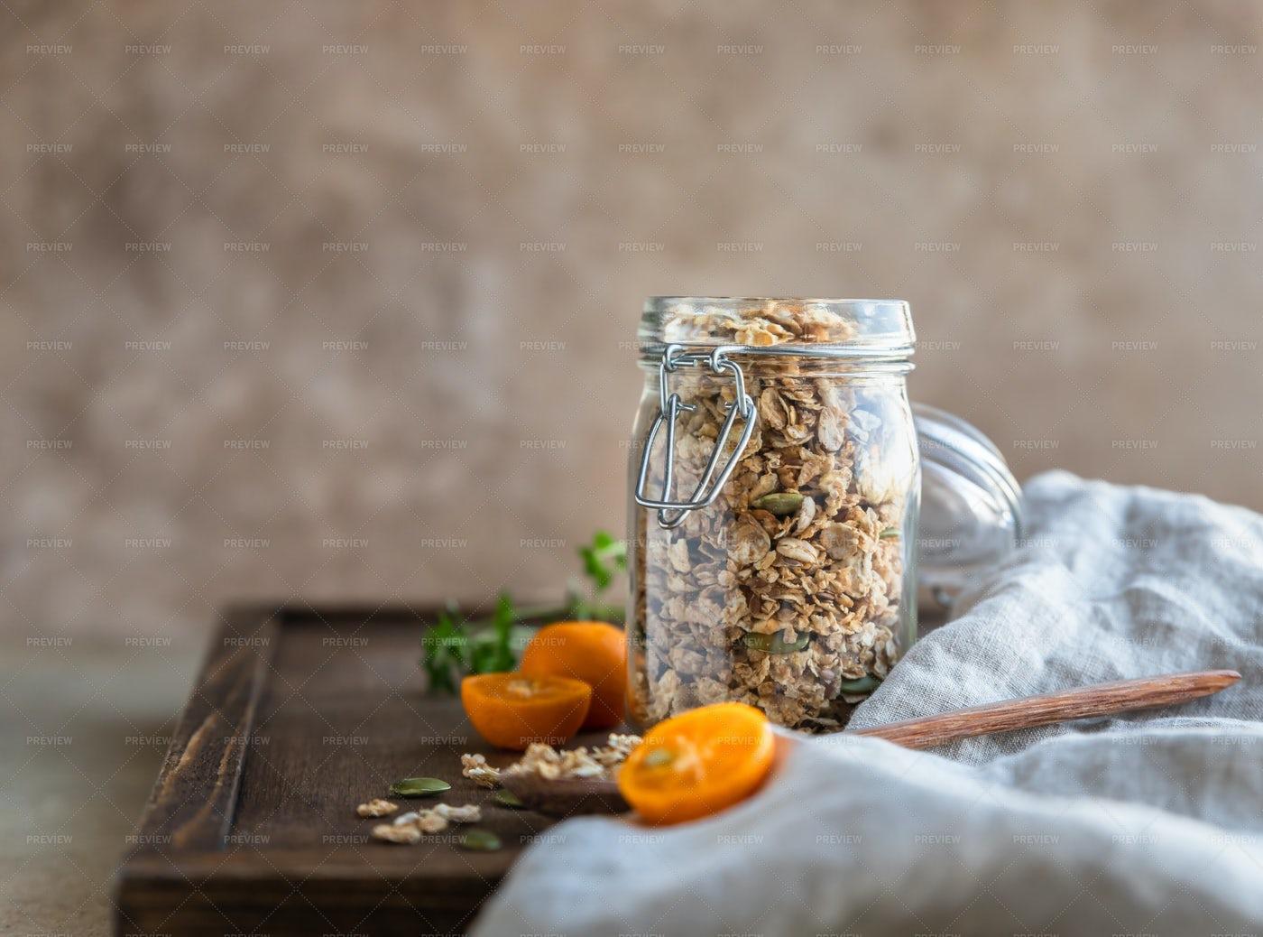 Homemade Granola With Pumpkin Seeds: Stock Photos