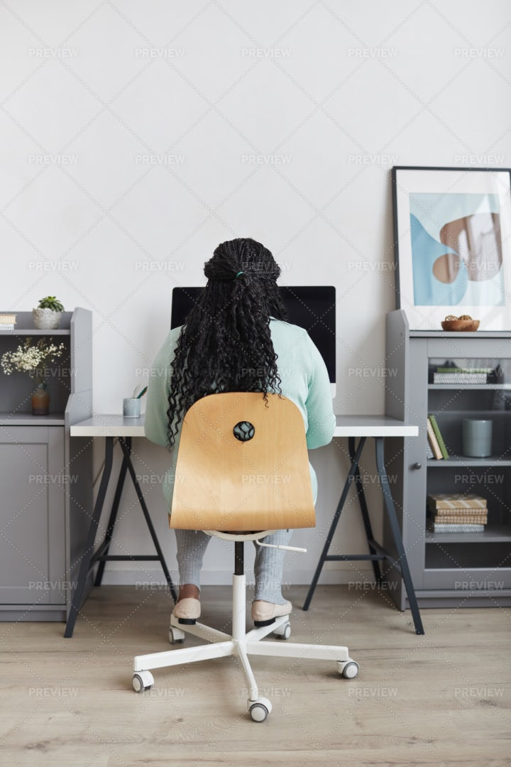 Back View Of Woman Working From Home: Stock Photos