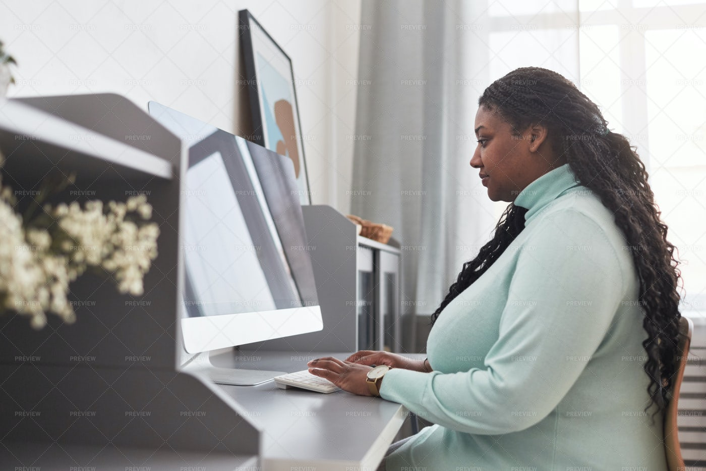 Remote Employee Working On PC: Stock Photos