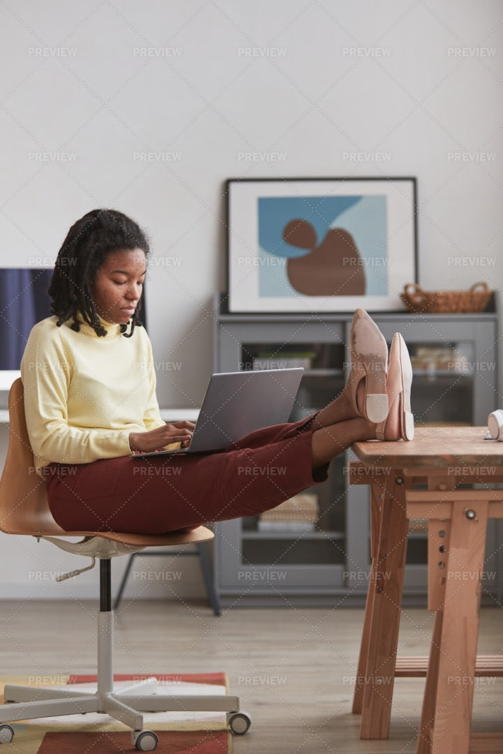 Young Woman Working From Home: Stock Photos